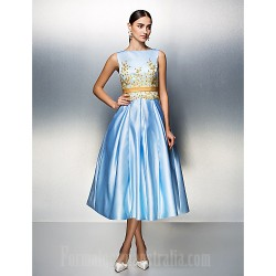 Company Party Dresses Family Gathering Dress Sky Blue Plus Sizes Dresses Petite Ball Gown Bateau Tea-length Satin
