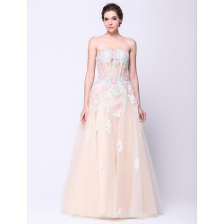 Australia Formal Dress Evening Gowns Multi-color A-line Strapless Long Floor-length Tulle Dress