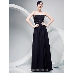 Chiffon A-line Strapless Long Floor-length Evening Dress  by Mark Salling