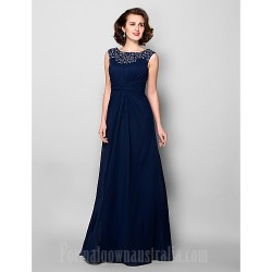 A-line Plus Sizes Dresses Petite Mother of the Bride Dress Dark Navy Long Floor-length Sleeveless Chiffon