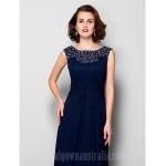 A-line Plus Sizes Dresses Petite Mother of the Bride Dress Dark Navy Long Floor-length Sleeveless Chiffon Formal Dress Australia