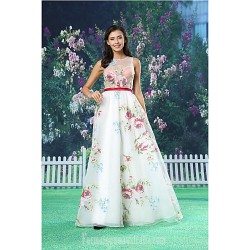 A-line Australia Formal Dress Evening Gowns White Long Floor-length Jewel Organza Satin