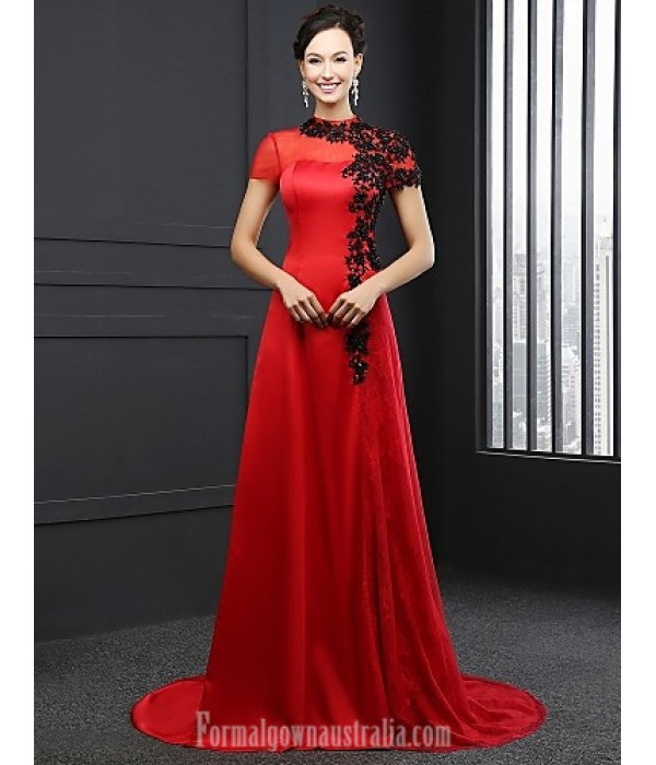 Australia Formal Dress Evening Gowns Ruby A-line High Neck Chapel Train Satin Formal Dress Australia