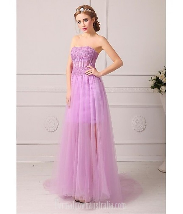 Australia Formal Dress Evening Gowns Lilac Sky Blue White Blushing Pink Black Royal Blue Plus Sizes Dresses Petite A-line Strapless Court Train Formal Dress Australia