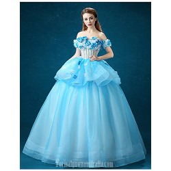 Australia Formal Dress Evening Gowns Sky Blue Ball Gown Off-the-shoulder Long Floor-length Organza