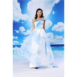 A-line Australia Formal Dress Evening Gowns Pool White Long Floor-length Strapless Organza Satin