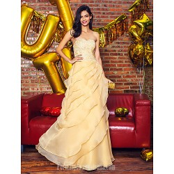Australia Formal Dress Evening Gowns Champagne A-line Sweetheart Ankle-length Lace Organza
