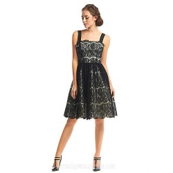 Australia Formal Dresses Cocktail Dress Party Dress Black A Line Straps Short Knee Length Lace
