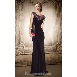 Australia Formal Evening Dress Black Plus Sizes Dresses Petite A-line Jewel Long Floor-length Chiffon