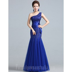 Australia Formal Dress Evening Gowns Ruby Royal Blue Plus Sizes Dresses Fit Flare Sexy One Shoulder Long Floor-length Lace Dress Tulle