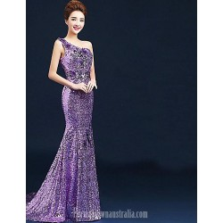 Australia Formal Dress Evening Gowns Lilac Plus Sizes Dresses Ball Gown Sexy One Shoulder Long Floor-length Velet Chiffon