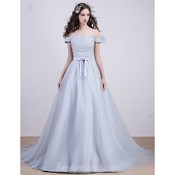 Australia Formal Dresses Cocktail Dress Party Dress Australia Formal Dress Evening Gowns Silver A-line Bateau Court Train Tulle