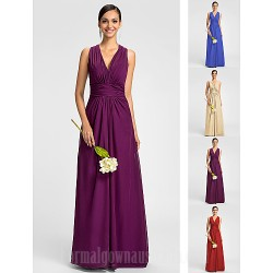Dress Ruby Grape Royal Blue Champagne Plus Sizes Dresses Petite A Line V Neck Long Floor Length Chiffon