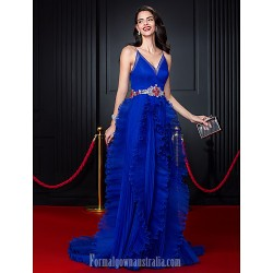 Australia Formal Dress Evening Dress Royal Blue A Line Spaghetti Straps Court Train Organza
