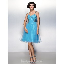 Australia Formal Dresses Cocktail Dress Party Dress Pool A Line Spaghetti Straps Short Knee Length Tulle