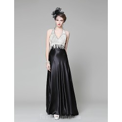Australia Formal Dress Evening Gowns Pool Black Ball Gown V Neck Chapel Train Stretch Satin Knit