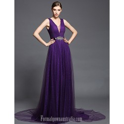 Australia Formal Dress Evening Gowns Ruby Burgundy Regency Ball Gown V-neck Court Train Chiffon Tulle Charmeuse