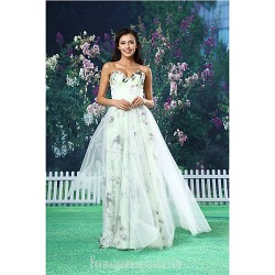 A-line Australia Formal Dress Evening Gowns White Long Floor-length Sweetheart Organza Satin