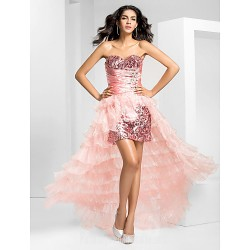 Prom Gowns Australia Formal Evening Dress Pearl Pink Plus Sizes Dresses Petite A-line Strapless Asymmetrical Organza Sequined
