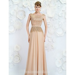 Australia Formal Dress Evening Gowns Champagne A-line Jewel Long Floor-length Satin