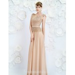 Australia Formal Dress Evening Gowns Champagne A-line Jewel Long Floor-length Satin Formal Dress Australia