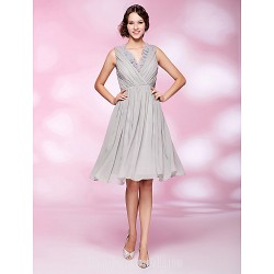 A Line V Neck Short Knee Length Chiffon Australia Cocktail Dress