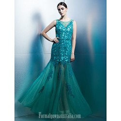 Australia Formal Dress Evening Gowns Jade Fit Flare Scoop Long Floor-length Tulle Dress