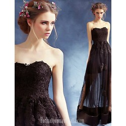 Australia Formal Dress Evening Gowns Black A Line Sweetheart Long Floor Length Satin Tulle
