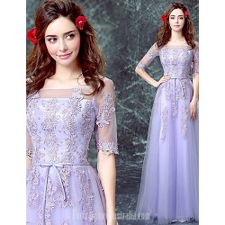 Australia Formal Dress Evening Gowns Lavender A-line Off-the-shoulder Long Floor-length Tulle Dress