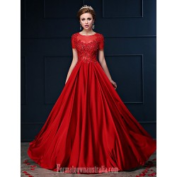 Dress Ruby A-line Jewel Long Floor-length Lace Dress Charmeuse