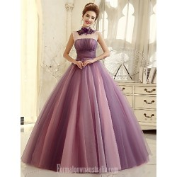 Australia Formal Dress Evening Gowns Multi Color Ball Gown High Neck Long Floor Length Tulle Dress
