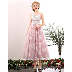 Australia Formal Dresses Cocktail Dress Party Dress Blushing Pink Pool A Line Jewel Tea Length Lace Tulle