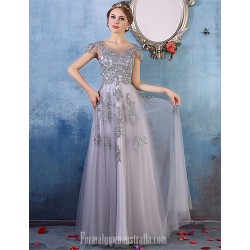 Australia Formal Dress Evening Gowns Silver A Line Scoop Long Floor Length Tulle Dress