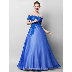 Australia Formal Dress Evening Gowns Royal Blue A-line Bateau Long Floor-length Chiffon Lace Tulle