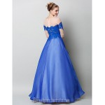 Australia Formal Dress Evening Gowns Royal Blue A-line Bateau Long Floor-length Chiffon Lace Tulle Formal Dress Australia