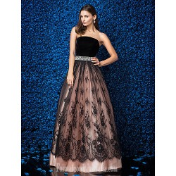 Australia Formal Dress Evening Gowns Multi-color Plus Sizes Dresses Petite Ball Gown Strapless Long Floor-length Lace Dress Velvet