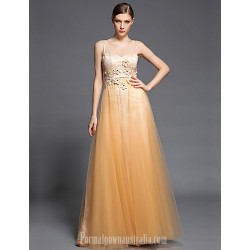Australia Formal Dress Evening Gowns Champagne A-line Jewel Long Floor-length Lace Dress Tulle Charmeuse