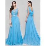 Australia Formal Dress Evening Gowns Pool A-line Scoop Court Train Chiffon Formal Dress Australia