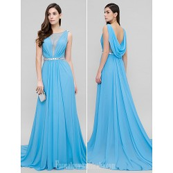 Australia Formal Dress Evening Gowns Pool A-line Scoop Court Train Chiffon