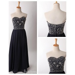 Australia Formal Dress Evening Gowns Dark Navy A-line Sweetheart Long Floor-length Chiffon