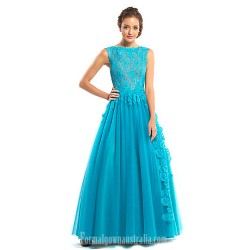 Australia Formal Dress Evening Gowns Jade A-line Bateau Long Floor-length Lace Dress Tulle