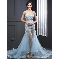Australia Formal Dress Evening Gowns Sky Blue A-line V-neck Court Train Organza
