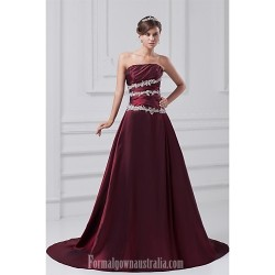 Australia Formal Dress Evening Gowns Grape A-line Strapless Court Train Taffeta