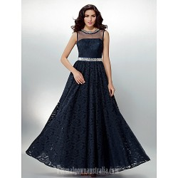 Australia Formal Dress Evening Gowns Dark Navy Plus Sizes Dresses Petite A-line Jewel Long Floor-length Lace Dress