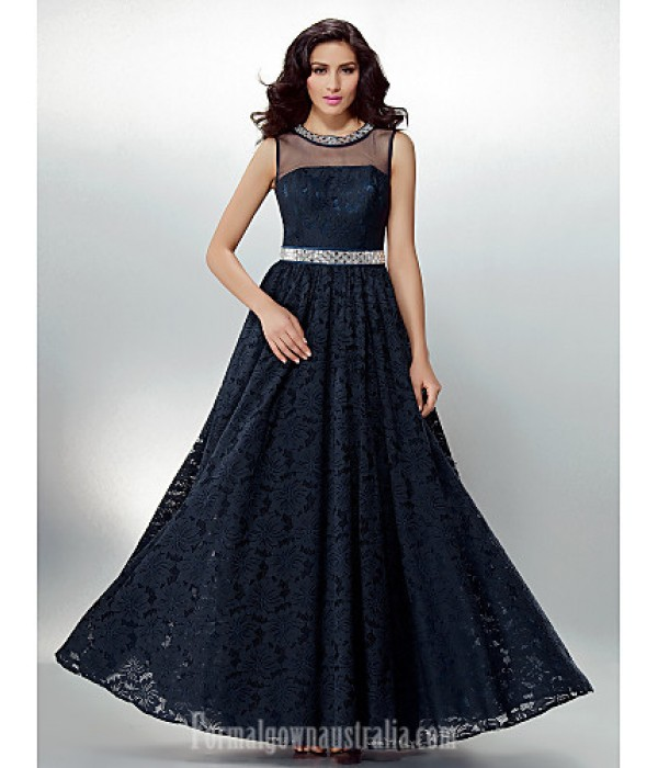 Australia Formal Dress Evening Gowns Dark Navy Plus Sizes Dresses Petite A-line Jewel Long Floor-length Lace Dress Formal Dress Australia