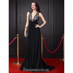 Australia Formal Dress Evening Dress Black A Line V Neck Court Train Georgette