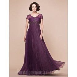 A-line Plus Sizes Dresses Petite Mother of the Bride Dress Grape Long Floor-length Short Sleeve Organza