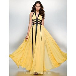 Australia Formal Dress Evening Gowns Daffodil A-line V-neck Long Floor-length Chiffon