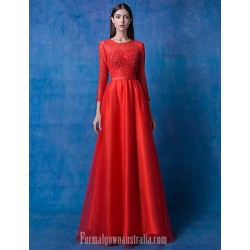 Australia Formal Dresses Cocktail Dress Party Dress Ruby A-line Scoop Long Floor-length Lace Dress Tulle