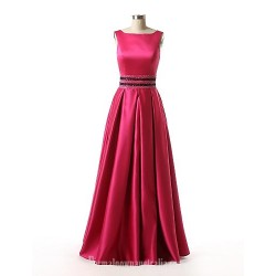 Australia Formal Evening Dress Fuchsia A-line Bateau Long Floor-length Satin